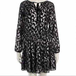 Michael Kors Metallic Black Silver Paisley Dress